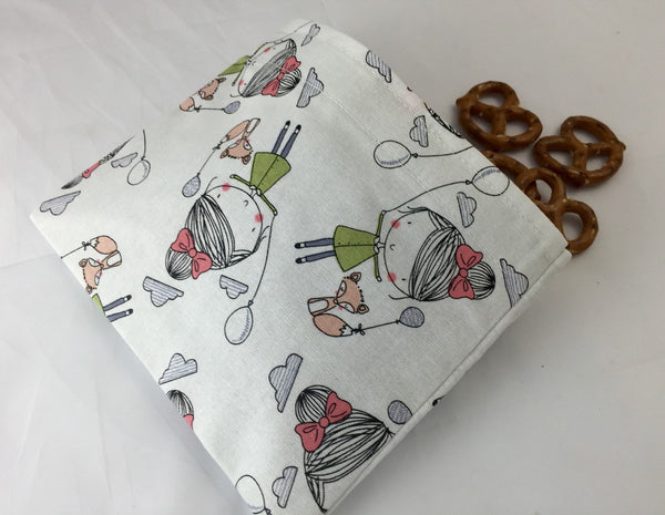 Fox Snack Baggie, Reusable Gir's Snack Bag for Kid's School Lunch - EcoHip Custom Designs