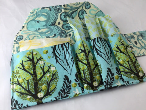 Tree of Life Tampon Case, Blue Sanitary Pad Holder, Feminine Hygiene Wallet - EcoHip Custom Designs