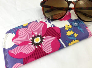 Floral Eyeglass Case, Fuschia Sunglass Pouch, Soft Fabric Reading Glasses Sleeve - EcoHip Custom Designs