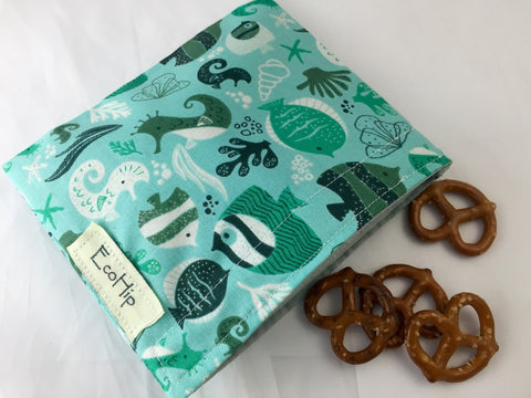 Ocean Snack Bag, Eco-Friendly Snack Baggie, Nautical Fish Lunch Bag for School - EcoHip Custom Designs
