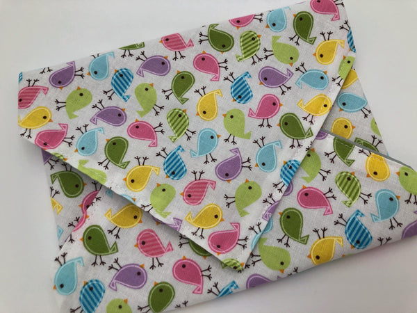 Little Birds, Reusable Sandwich Bag , Girls Sandwich Wrap, Bird Lunchbox - EcoHip Custom Designs