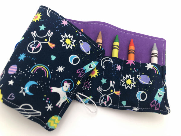 Unicorn Crayon Roll, Girl's Stocking Stuffer, Outer Space Crayon Case, Shooting Stars - EcoHip Custom Designs