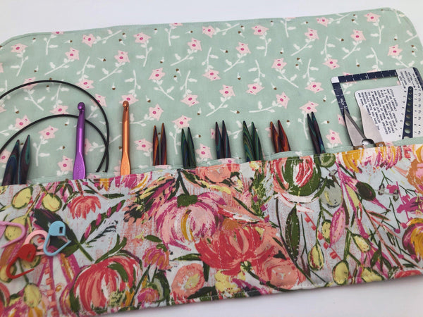 Interchangeable Knitting Needle Case, Fabric Crochet Hook Roll, Knitting Needle Storage, Pink - EcoHip Custom Designs