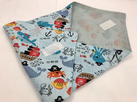 Kid's Sandwich Bag Mat, Reusable Handmade Napkin, Pirate, Ocean, Sea Animals - EcoHip Custom Designs
