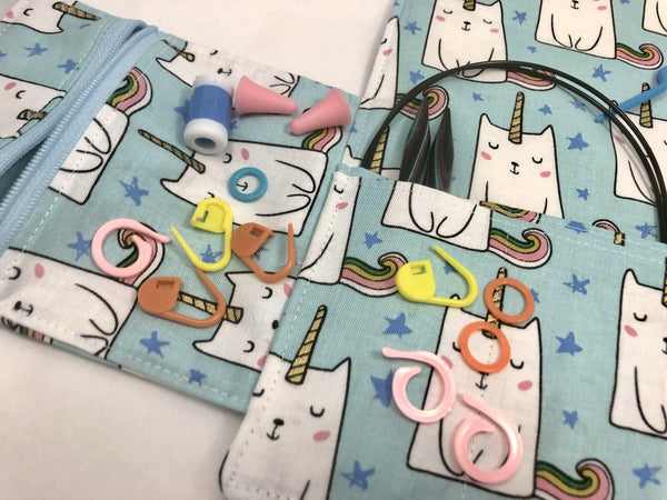 Knitting Needle Case, Interchangeable Knitting Needle Storage, Crochet Hook Roll, Cats - EcoHip Custom Designs