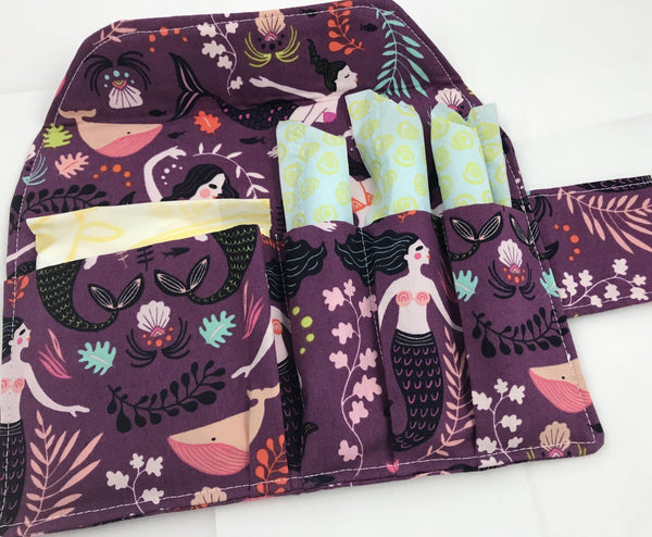Mermaids Feminine Products Case, Time of the Month Clutch, Purple - EcoHip Custom Designs