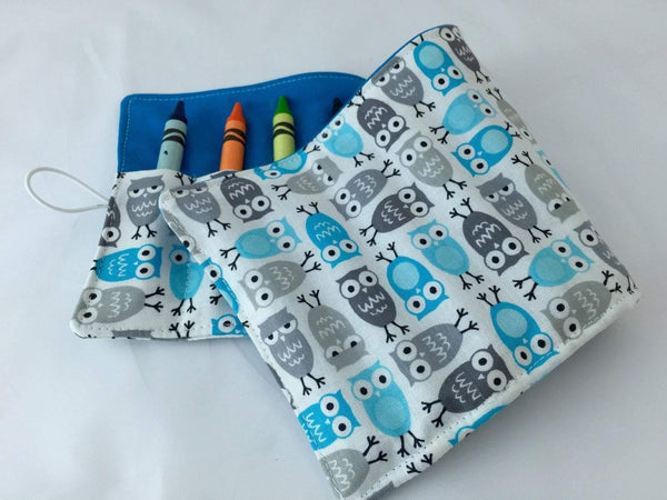 Owl Crayon Roll, Toddler Travel Toy, Kid's Crayon Case, Crayon Wallet, Gray, Blue - EcoHip Custom Designs