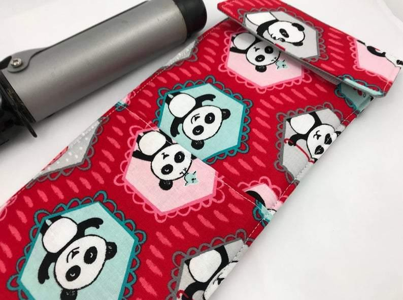Panda Curling Iron Holder, Red Flat Iron Case, Iron Sleeve, Bridesmaid Gift - EcoHip Custom Designs