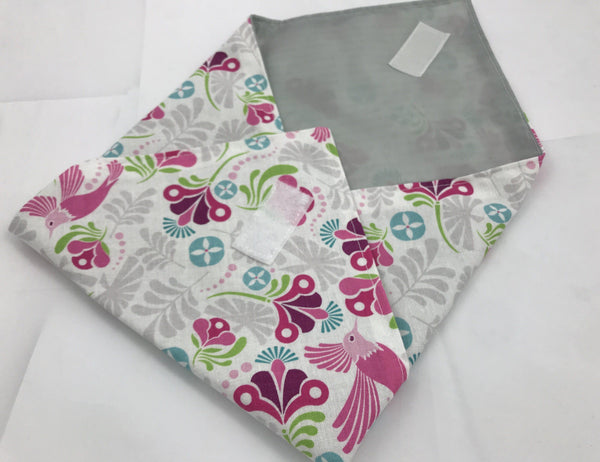 Peacock Reusable Sandwich Bag Wrap, Girl's Lunch, Pink - EcoHip Custom Designs