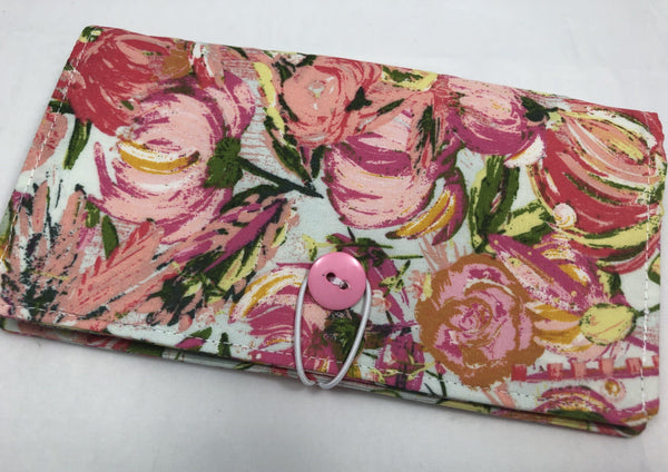 Pink Checkbook Cover, Women's Duplicate Check Book, Purse Organizer, Green, Floral - EcoHip Custom Designs