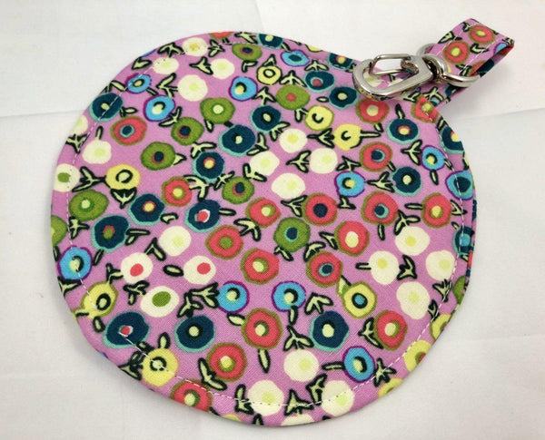 Pink Earphone Case, Earbud Case, Pacifier Pouch, Teacher's Gift, Dots - EcoHip Custom Designs