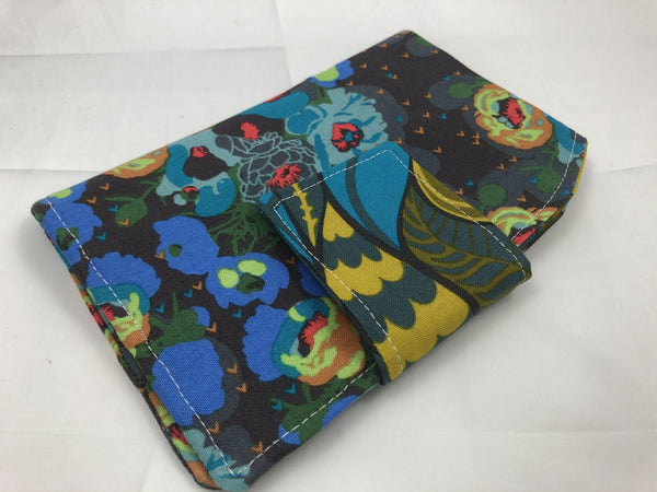 Privacy Pouch, Sanitary Pad Holder, Tampon Case, Shark Week, Peonies, Green - EcoHip Custom Designs