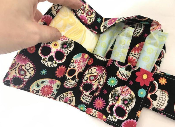 Privacy Tampon and Sanitary Pad Bag Holder, Feminine Products Cozy, Wallet, Sugar Skulls - EcoHip Custom Designs