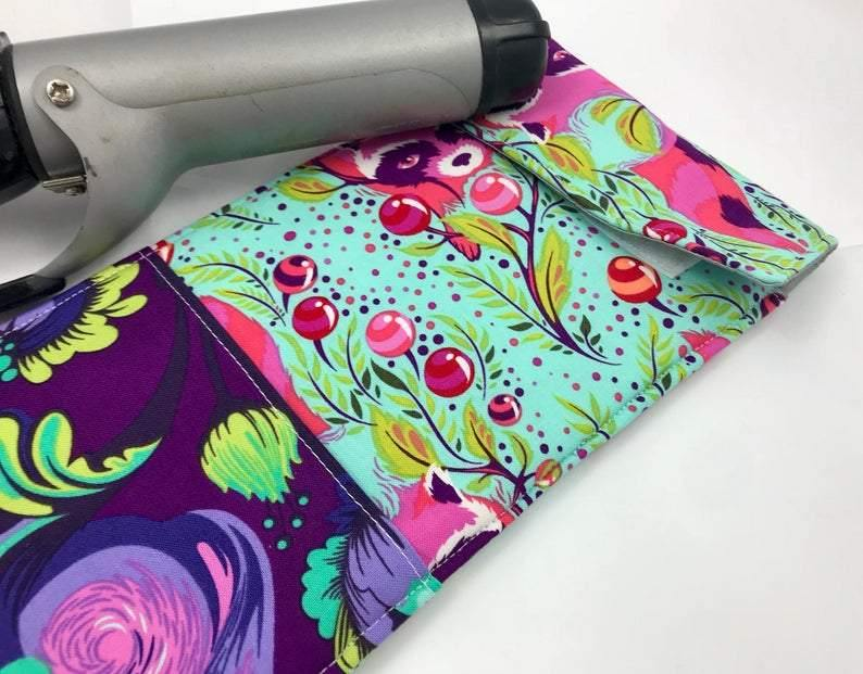 Raccoon Curling Iron Holder, Green Flat Iron Bag, Iron Sleeve, Purple - EcoHip Custom Designs