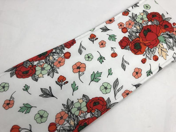 Red Curling Iron Holder, Flat Iron Case, Travel Hair Straightener Sleeve, Floral, White - EcoHip Custom Designs