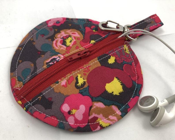 Red Earbud Case, Headphone Case, Handmade Pouch, Peonies Floral - EcoHip Custom Designs