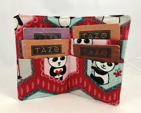 Red Tea Bag Wallet, Travel Teabag Organizer, Gift Card Case, Panda Bear - EcoHip Custom Designs