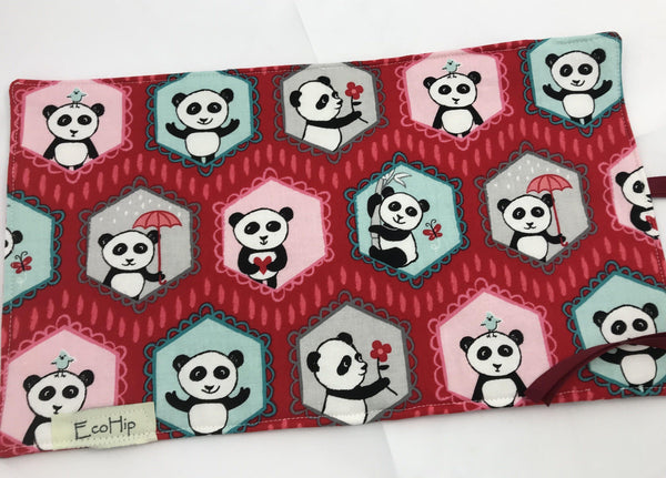 Red Travel Jewelry Case, Travel Bracelet Pouch, Jewelry Organizer, Panda - EcoHip Custom Designs