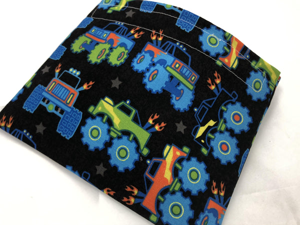 Reusable Boy's Snack Bag, Kid's Snack Baggie, Monster Truck Lunch - EcoHip Custom Designs