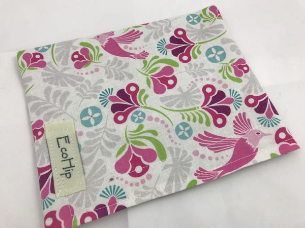Reusable Girl's Snack Bag, Pink School Lunch Baggie, Peacock, Pink - EcoHip Custom Designs