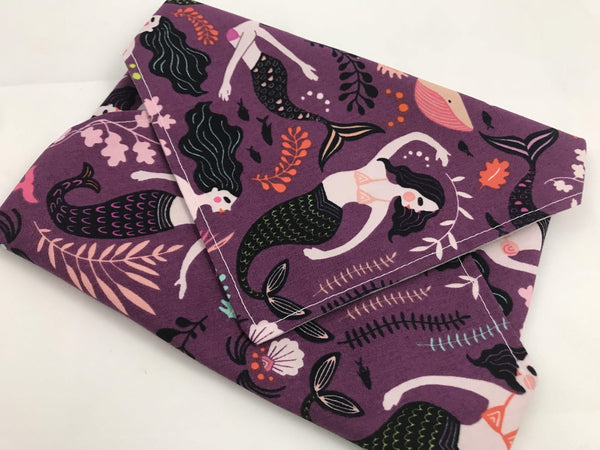 Reusable Sandwich Bag, Girl's School Sandwich, Eco Napkin, Mermaids - EcoHip Custom Designs