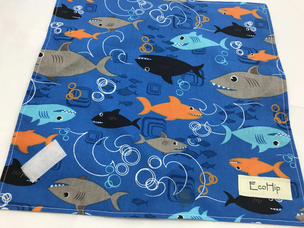 Reusable Sandwich Bag Wrap, Boy's School Lunch, Eco Lunch Napkin, Sharks - EcoHip Custom Designs