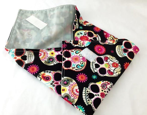 Reusable Sandwich Bag Wrap, Sugar Skulls, Black Fabric - EcoHip Custom Designs