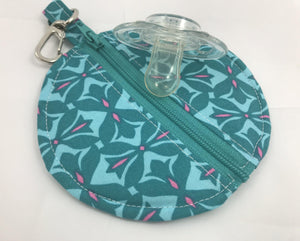 Round Earbud Case, Blue Air Pod Pouch, Lens Cap Holder, Tiny Zipper Pouch, Teal - EcoHip Custom Designs