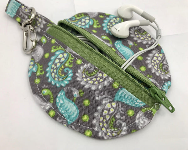 Round Earbud Case, Lip Balm Pouch, Teacher Gift, Paisley, Gray - EcoHip Custom Designs