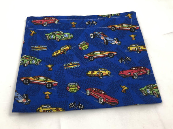 School Kid's Snack Bag, Reusable Boy's Snack Pouch, Blue Race Cars - EcoHip Custom Designs