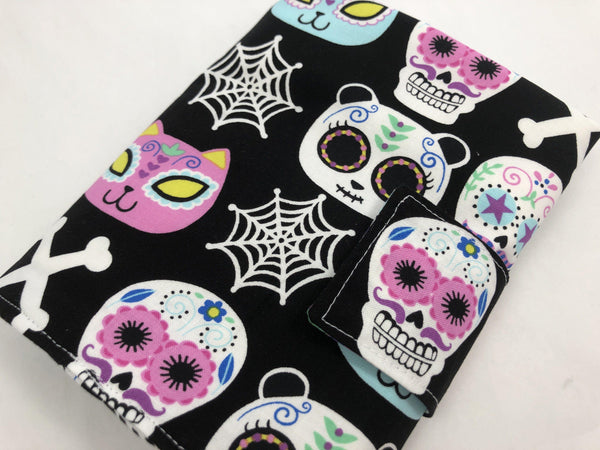 Sugar Skull Interchangeable Knitting Needle Case, Fabric Crochet Hook Roll - EcoHip Custom Designs