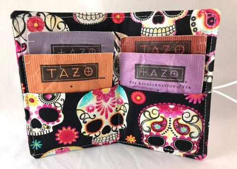 Sugar Skull Tea Wallet, Travel Teabag Holder, Credit Card Organizer, Hot Tea Lovers - EcoHip Custom Designs