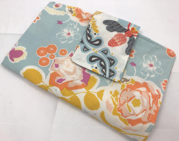 Tampon and Sanitary Pad Pouch, Time of the Month Bag, Feminine Products Cozy, Holder, Blossoms Blue - EcoHip Custom Designs