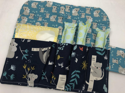 Tampon and Sanitary Pouch, Feminine Products Cozy, Tampon Wallet, Koala Bear - EcoHip Custom Designs