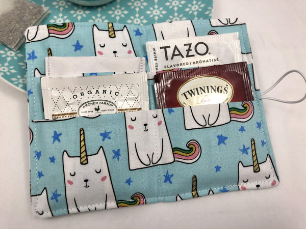Tea Caddy, Travel Tea Bag Wallet, Gift Card Case, Tea Lover Gift, Caticorn - EcoHip Custom Designs