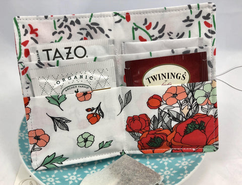 Tea Cozy, Travel Tea Bag Holder, Business Card Wallet, Tea Lovers, Blooms Red - EcoHip Custom Designs
