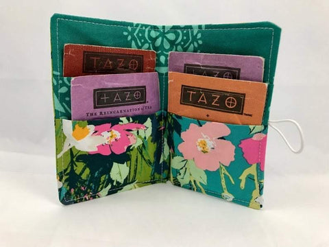 Tea Holder, Travel Tea Bag Wallet, Business Card Case, Tea Lover Gift, Green Garden - EcoHip Custom Designs