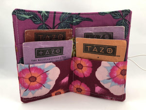 Teabag Holder, Travel Tea Bag Case, Credit Card Wallet, Purse Organizer, Tea Lover, Bright Red, Fuchsia - EcoHip Custom Designs