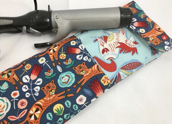 Tigers, Curling Iron Holder, Blue Flat Iron Bag, Travel Curling Wand Sleeve - EcoHip Custom Designs