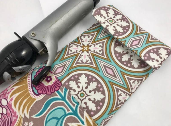 Travel Curling Iron Bag, Flat Iron Case, Heat Resistant Iron Cover, Hair Dressers Gift - EcoHip Custom Designs