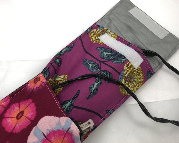 Travel Curling Iron Bag, Flat Iron Cover, Heat-Resistant Case, Violet, Floral - EcoHip Custom Designs