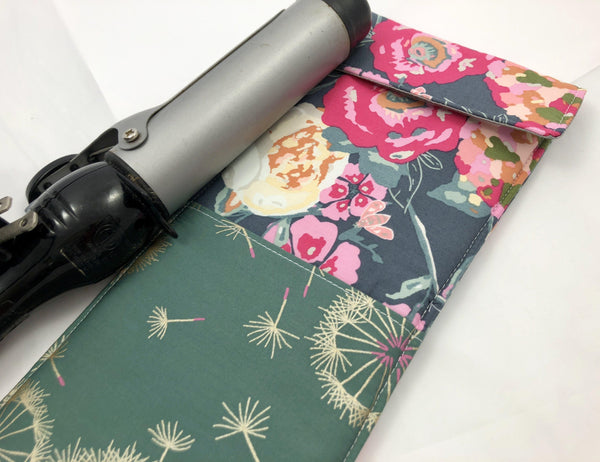 Travel Curling Iron Case, Hair Straightener Sleeve, Heat-Resistant, Garden Green - EcoHip Custom Designs
