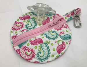 Travel Earbud Case, Pacifier Pouch, Chapstick Holder, Pink, Paisley, Birds - EcoHip Custom Designs