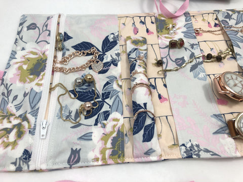 Travel Jewelry Case, Fabric Jewelry Bag Roll, Posy Ethereal - EcoHip Custom Designs