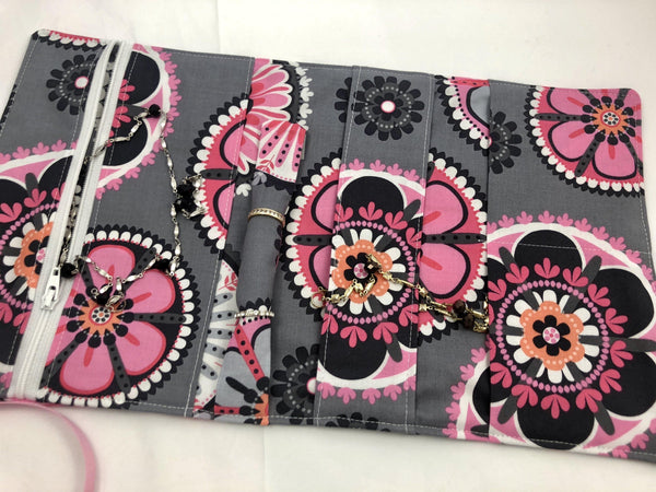 Travel Jewelry Case, Ring Holder, Fabric Jewelry Roll, Pink, Gray - EcoHip Custom Designs