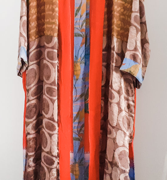 Cofur paneled red and brown Kimono (long)