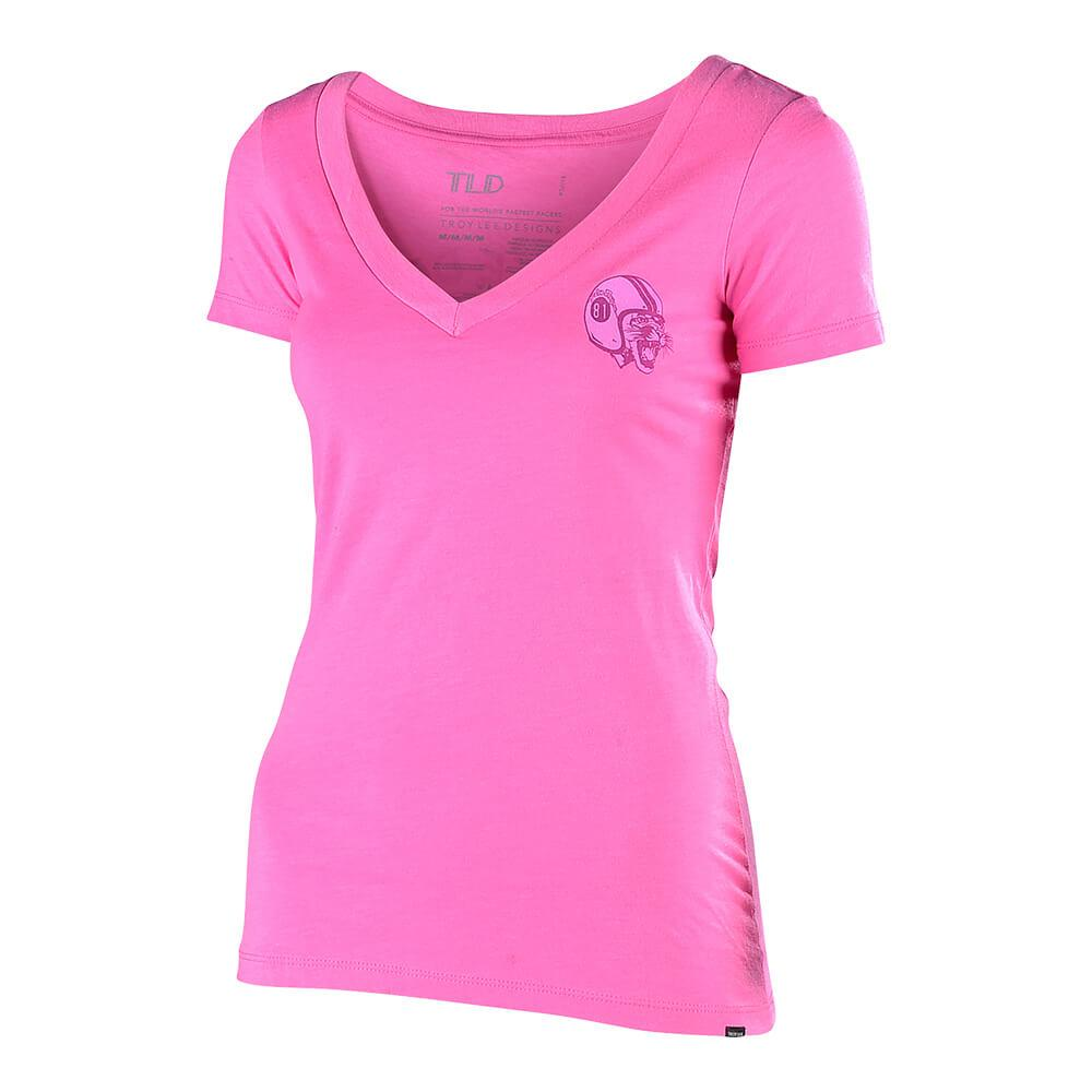 WOMENS SHORT SLEEVE MAD KITTY HOT PINK
