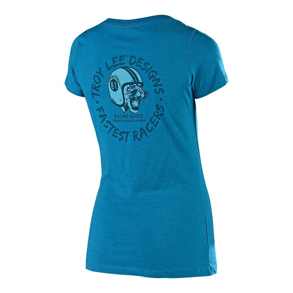 WOMENS SHORT SLEEVE MAD KITTY TEAL