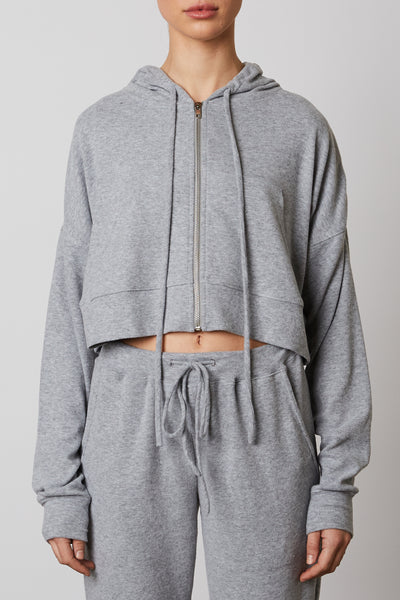 Cropped Zip Up Hoodie