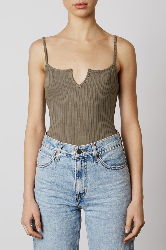 Flat Rib Notched Bodysuit